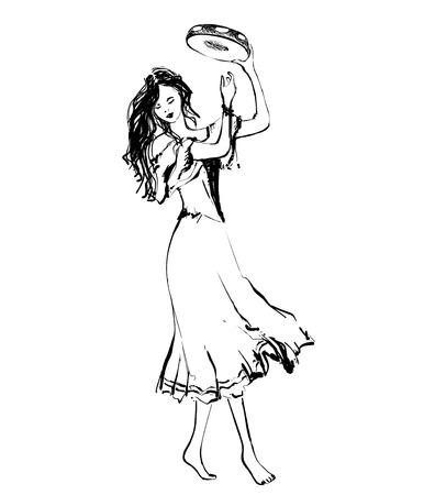 Gypsy dancer with tambourine. Hand drawn woman