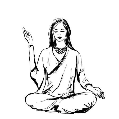 Hand Sketch Meditating Woman. Vector illustration sketch