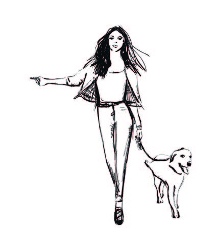 Girl and her pet. Fashion woman walking with dog. Sketch