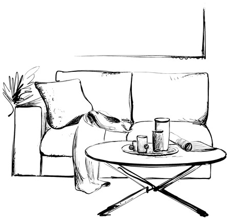 Modern interior hand drawing vector illustration. Sofa and table sketch