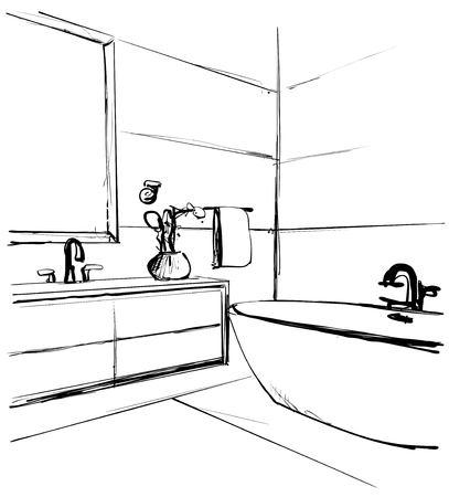 Hand drawn Bathroom interior. Furniture sketch. Home