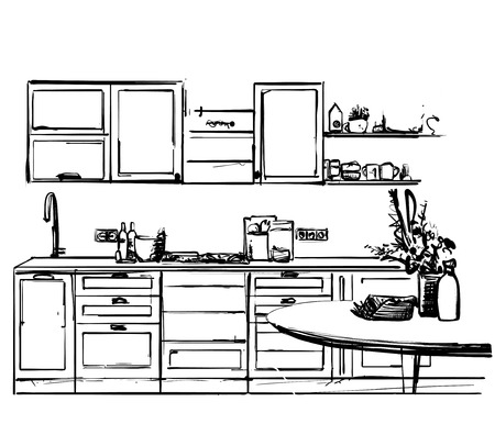Kitchen interior drawing, vector illustration. Dinner table sketch