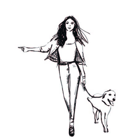 Girl with dog. Fashion illustrations sketch. Walking poster