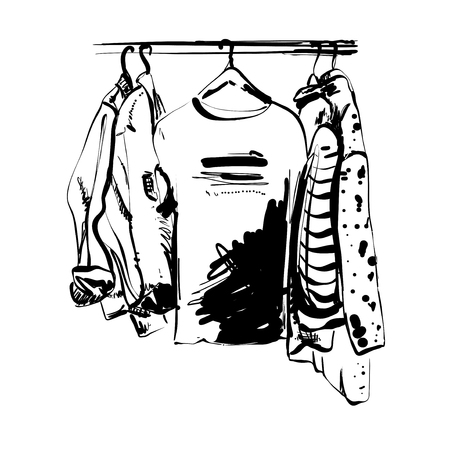 Hand drawn wardrobe sketch. Clothes on the hunger. Monochrome shirt