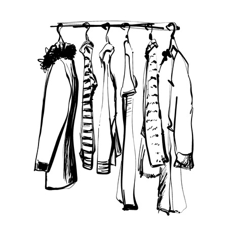Hand drawn wardrobe sketch. Clothes on the hunger. Monochrome