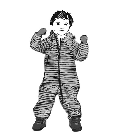 Baby in romper. Fashion child sketch. Clothes hand drawn