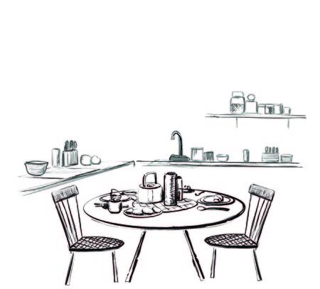 Table setting set. Weekend breakfast or dinner. Çizim