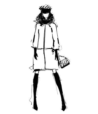 Woman in a jacket. Fashion illustrations sketch. Monochrome Çizim