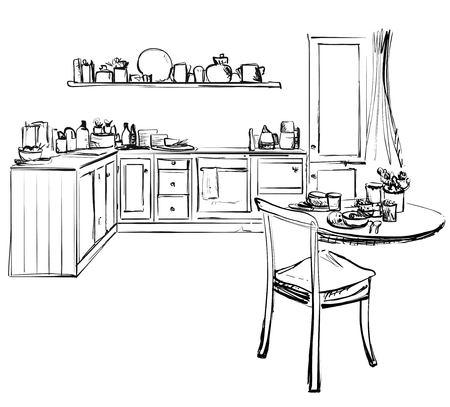 Sketch of modern corner kitchen. Black pencil lines on white background.