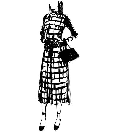 Woman in a dress with handbag. Fashion illustrations sketch Çizim