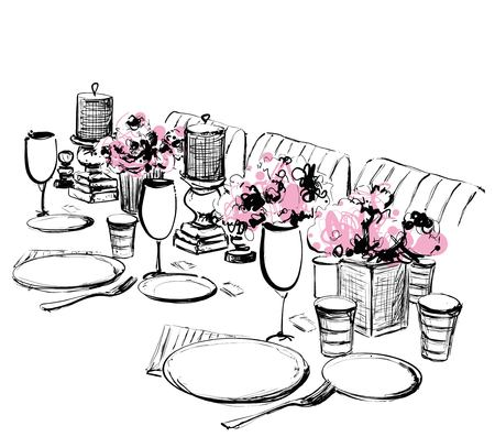 Vector illustration of holiday dinner. Dishes sketch