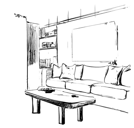Hand drawn sketch of modern living room interior with a sofa, pillows, table, bookshelf and pictures. Furniture