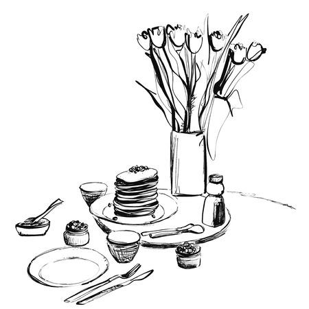 Sketch Doodle Pancakes Vector Illustration Art. Sunday breakfast. Sketch Çizim