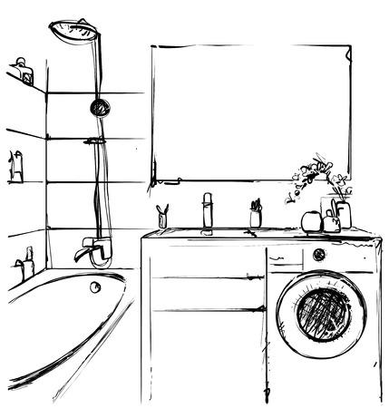Hand drawn Bathroom. Interior sketch. Home furniture