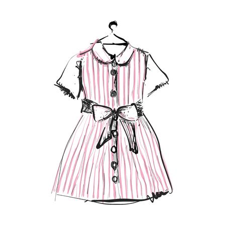 Pink baby dress on hangers for your design. Sketch