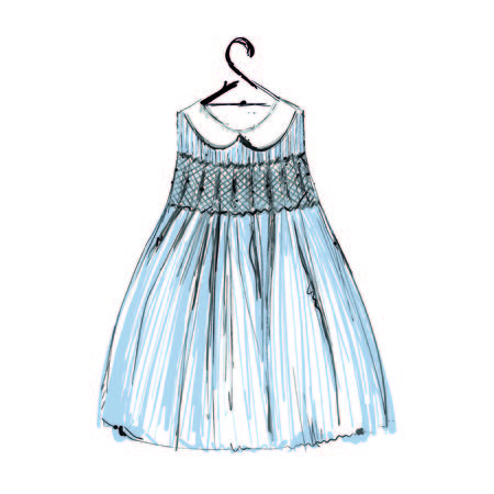 Baby dress on hangers for your design. Sketch Çizim