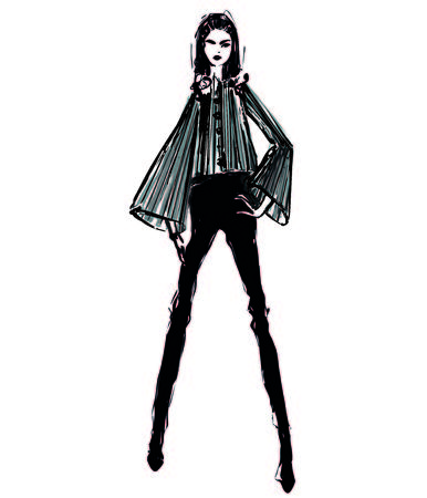 Woman in a shirt, suit. Fashion illustrations sketch