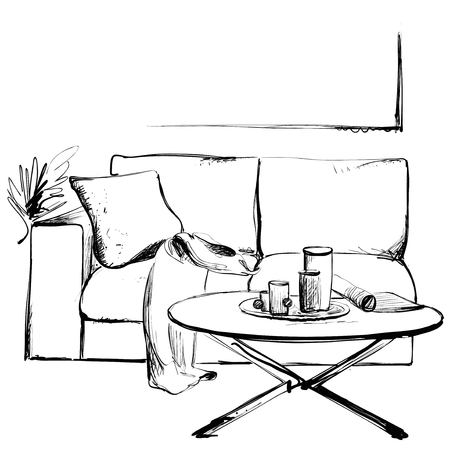 Modern interior hand drawing illustration. Sofa and table sketch