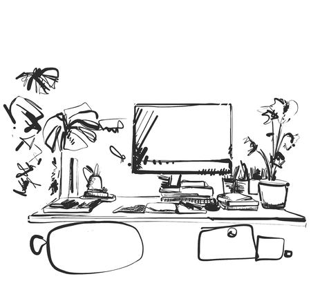 Hand drawn modern workplace. Chair and computer sketch