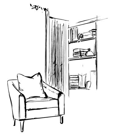Hand drawn sketch of modern living room interior with a chair and bookshelf. Furniture
