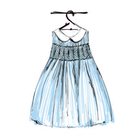 Baby dress on hangers for your design. Fashion sketch Çizim
