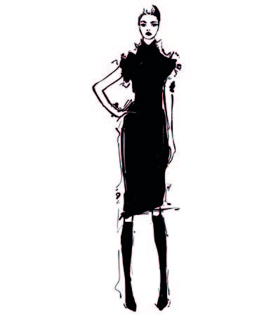 Woman in a black dress. Fashion illustrations sketch