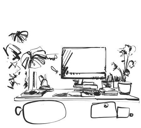 Hand drawn workplace. Chair and computer sketch. Monochrome Çizim