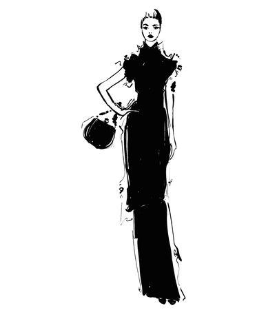 Woman in a dress with handbag. Fashion illustrations sketch. Monochrome Çizim