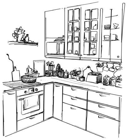 Kitchen interior drawing, vector illustration, sketch