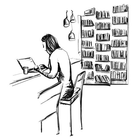 Woman sitting in library for computer, student reads book, education knowledge, concept bookshelf, reading room interior, hand drawn