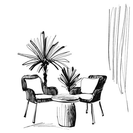 Interior hand drawing vector illustration. Furniture sketch
