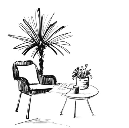 Chair, table and palm. Hand drawn vector illustration of a sketch style