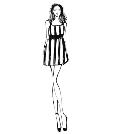 Fashion models sketch. Cartoon girl in dress Illustration