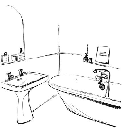 Hand drawn Bathroom. Interior sketch