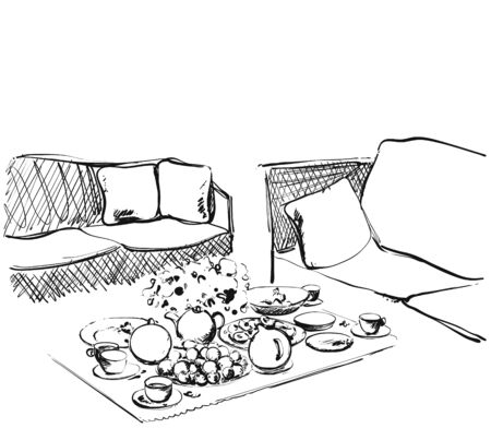 Hand Drawn wares sketch. Romantic dinner for two. Food and drink in interior