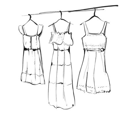 Clothes on hangers. Hand drawn sketch illustration. Dress Illustration