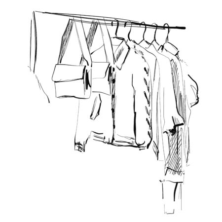 Wardrobe sketch. Clothes on the hangers. Coat and dress