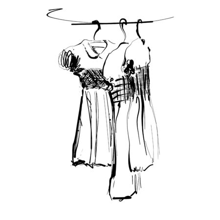 Dress on hanger. Wardrobe sketch. Hand drawn fashion