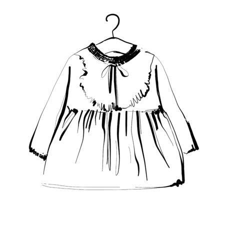 Baby dress on hangers. Fashion sketch. Hand drawn