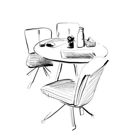 Hand drawn cafe interior. table and chair sketch