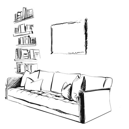 Room interior, with couch and bookshelving. Room sketch