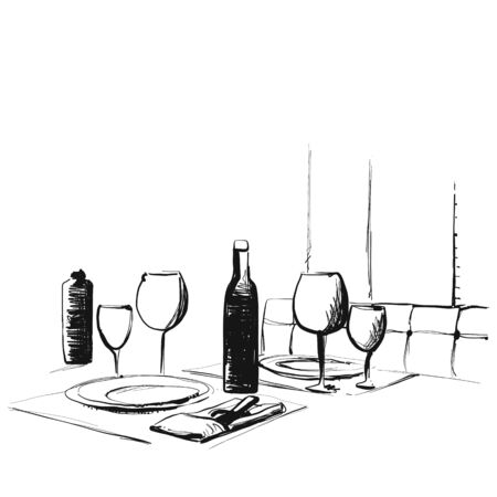 Hand Drawn wares. Romantic dinner for two. Glass sketch