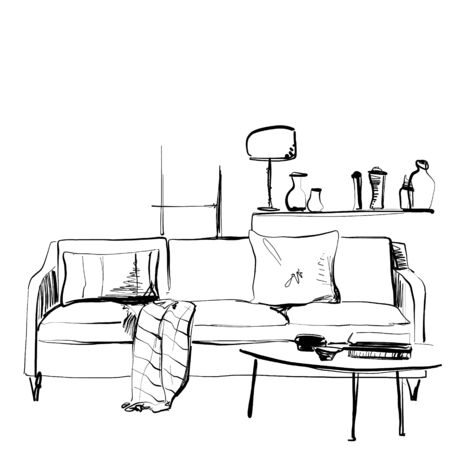 Hand drawn room interior sketch. Furniture. Sofa and blanket