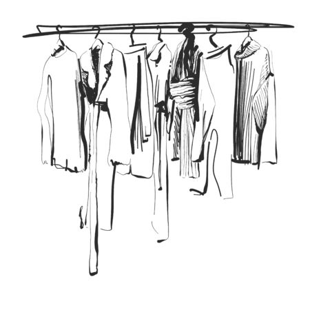 Wardrobe sketch. Clothes on the hangers. Summer dress