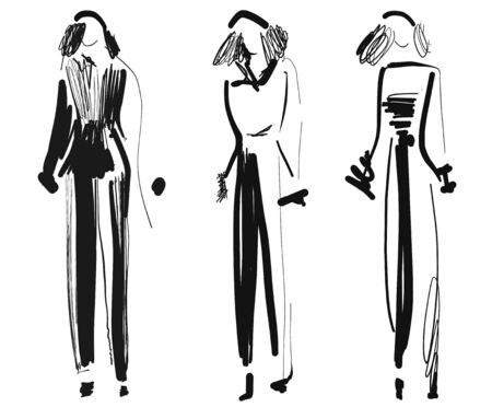 Fashion models. Sketch. Hand drawn girl. Abstract Illustration