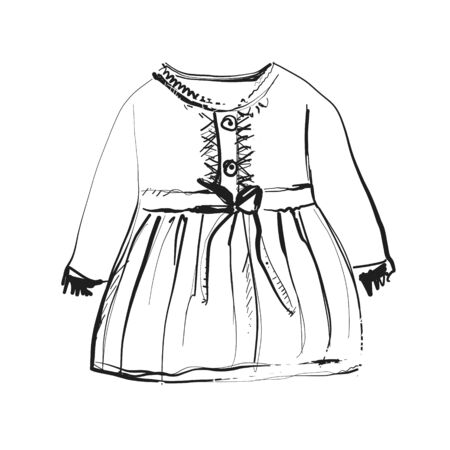Baby dress on hangers for your design. Fashion sketch Illustration