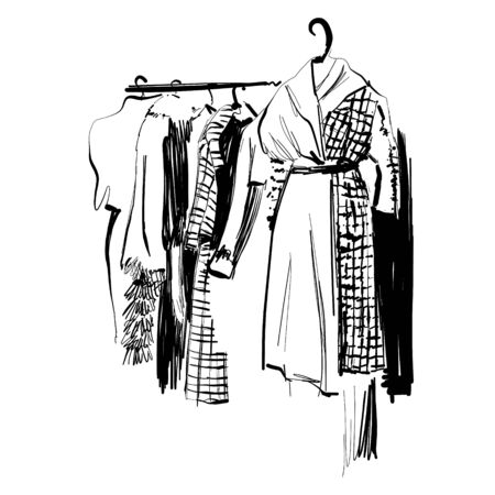 Hand drawn wardrobe sketch. Clothes on the hangers. Dress Stok Fotoğraf - 146698869