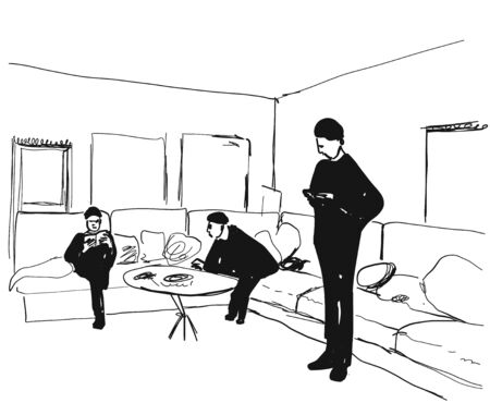 Social isolation. Stay at home. Person in interior. Illustration sketch Illustration