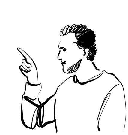 Man pointing finger. Hand drawn male sketch. Arm