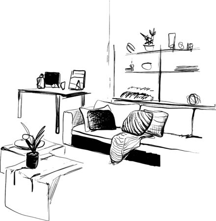 Hand drawn interior sketch. Living room. Furniture Illustration